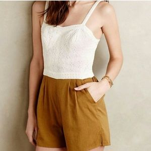 RARE Anthropologie Romper with eyelet top NWT